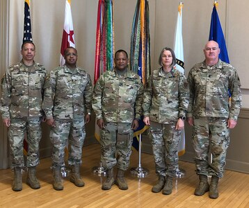 U.S. Air Force Maj. Gen. Sherrie McCandless, interim commanding general, District of Columbia National Guard; U.S. Army Brig. Gen. Aaron Dean, adjutant general, D.C. National Guard; U.S. Army Maj. Baron Mason, director, State Partnership Program; and U.S. Army Command Sgt. Maj. Michael Brooks, senior enlisted leader participated virtually in the 2021 African Land Forces Summit, May 19, 2021.