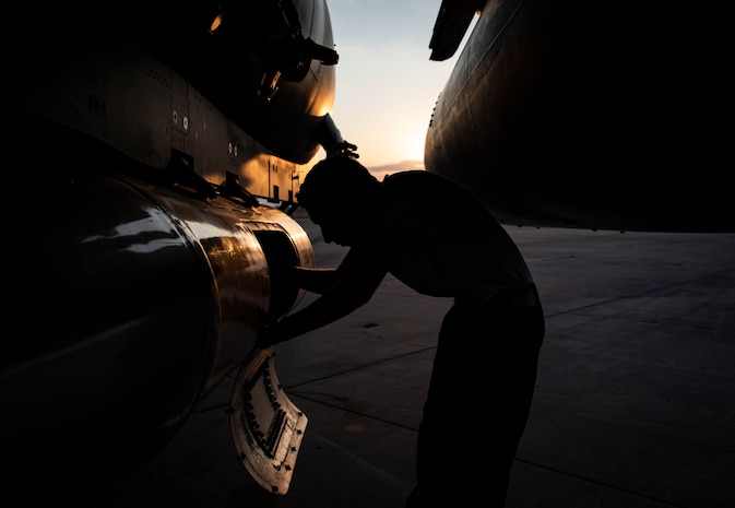 Airman 1st Class Bonifacio Garcia, 757th Aircraft Maintenance Squadron (AMXS) tactical aircraft maintainer, prepares an F-15E Strike Eagle fighter jet for its flight back to Nellis Air Force Base, Nev., at the conclusion of Combat Archer 19-12 on Tyndall AFB, Fla., Sept. 27, 2019. The 757th AMXS participated in Combat Archer to test new software on their aircraft and evaluate their performances. (U.S. Air Force photo by Airman 1st Class Bailee A. Darbasie)