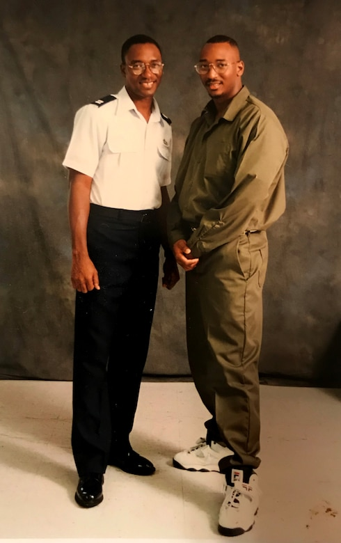 Then-Capt. Isaac Davidson poses for a photo with his brother during a visit to see Jaime in prison in the early 1990s. Isaac and Jaime both credit their faith and their family with helping them make it through Jaime's long incarceration. (Courtesy photo)
