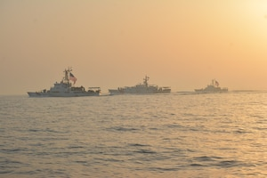 10524-G-N0146-0061 ARABIAN GULF (May 24, 2021) – Fast response cutters USCGC Robert Goldman (WPC 1142) and USCGC Charles Moulthrope (WPC 1141), and patrol boats USCGC Maui (WPB 1304) and Adak (WPB 1333) transit the Arabian Gulf en route to Bahrain, May 24. Robert Goldman and Charles Moulthrope are the newest additions to Patrol Forces Southwest Asia (PATFORSWA), which is comprised of six 110' cutters, the Maritime Engagement Team, shore side support personnel, and is the Coast Guard's largest unit outside of the U.S. playing a key role in supporting Navy security cooperation, maritime security, and maritime infrastructure protection operations in the U.S. 5th Fleet area of operations. (U.S. Coast Guard photo by Seaman Logan Kaczmarek)