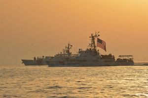210524-G-N0146-0073 ARABIAN GULF (May 24, 2021) – Patrol boat USCGC Maui (WPB 1304) and fast response cutter USCGC Robert Goldman (WPC 1142) transit the Arabian Gulf en  route to Bahrain, May 24. Robert Goldman and USCGC Charles Moulthrope (WPC 1141) are the newest additions to Patrol Forces Southwest Asia (PATFORSWA), which is comprised of six 110' cutters, the Maritime Engagement Team, shore side support personnel, and is the Coast Guard's largest unit outside of the U.S. playing a key role in supporting Navy security cooperation, maritime security, and maritime infrastructure protection operations in the U.S. 5th Fleet area of operations. (U.S. Coast Guard photo by Seaman Logan Kaczmarek)