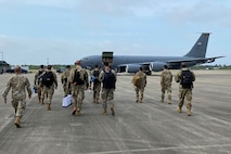 Airmen from the 141st Air Control Squadron, Puerto Rico Air National Guard, prepare for departure to Gulfport, Mississippi at Muniz Air National Guard Base, Carolina, Puerto Rico, April 14, 2021. These Airmen were part of the 141st Air Control Squadron group that participated in this year's Southern Strike exercise in Gulfport, Mississippi, April 15-29, 2021. Southern Strike is hosted by the National Guard Bureau and is a total force, full-spectrum warfare training event. It incorporates National Guard, Active Duty and Reserve components in the exercise. (U.S. Air National Guard courtesy photo by Capt. Angel Ríos)