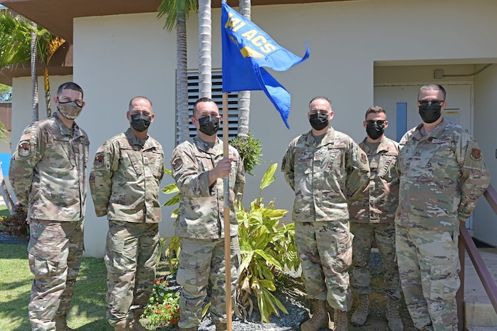 Airmen from the 141st Air Control Squadron, Puerto Rico Air National Guard, pose for a group picture at Punta Borinquen Radar Site, Aguadilla, Puerto Rico, May 6, 2021. From left: U.S. Air Force Capt. Abdiel Aponte, chief of training; Capt. Angel Rios, air battle manager; Staff Sgt. Esteban J. Aquino, electrical production specialist; Master Sgt. Steven Holliday, air surveillance technician; Master Sgt. Luis E. Ortiz, cyber transport craftsman; Master Sgt. Javier Ramirez, electrical production specialist. These Airmen were part of the 141st Air Control Squadron group that participated in this year's Southern Strike exercise in Gulfport, Mississippi, April 15-29, 2021. Southern Strike is hosted by the National Guard Bureau and is a total force, full-spectrum warfare training event. It incorporates National Guard, Active Duty and Reserve components in the exercise. (U.S. Air National Guard photo by Staff Sgt. Eliezer Soto)