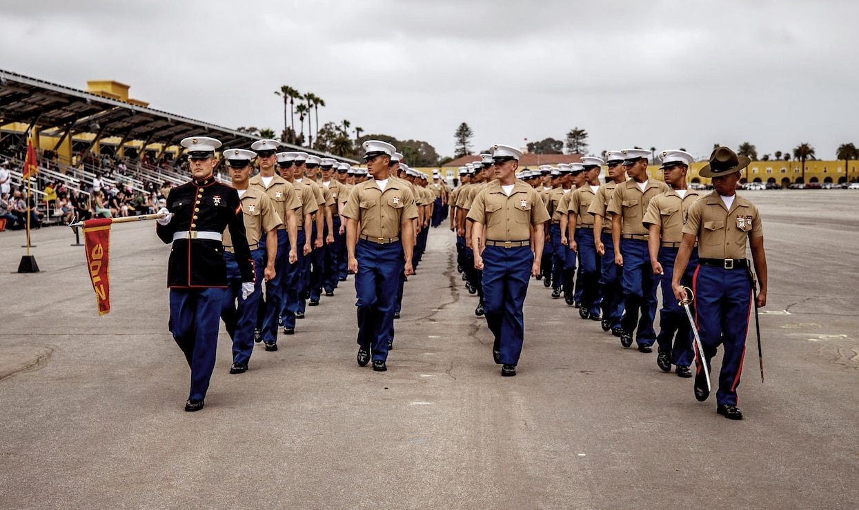 New Marines of Echo Company, 2nd Recruit Training Battalion, participate in a graduation ceremony at Marine Corps Recruit Depot, San Diego, May 20, 2021.