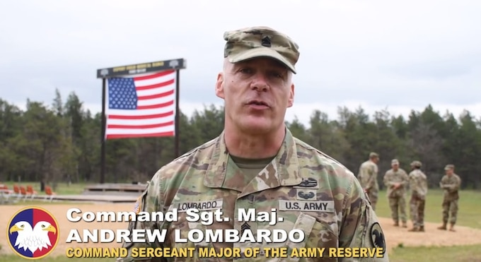 Command Sgt. Maj. Andrew Lombardo, Command Sergeant Major of U.S. Army Reserve, speaks about the first U.S. Army Reserve conducted Expert Field Medical Badge event held May 10-22, 2021 at Fort McCoy.
