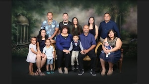 Staff Sgt. Conralyn Manglona, 56th Communications Squadron knowledge management technician, poses for a photo with her family. Manglona and her family are from Tinian, one of the islands of the Commonwealth of the Northern Mariana Islands. Diversity and inclusion in the U.S. Air Force are warfighting imperatives capitalizing on all available talent by enabling a culture where all Airmen are valued and respected for their identity, culture and background. (Courtesy Photo)