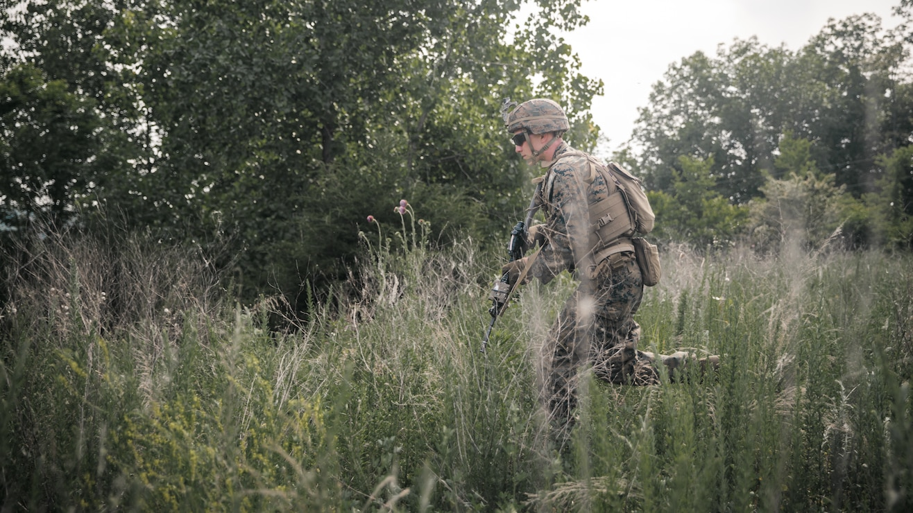 U.S. Marine Corps Pfc. Hayden Kingsburry, a Mars Hill, Maine native and a rifleman with 3rd Battalion, 2d Marine Regiment (3/2), 2d Marine Division, conducts a combat patrol during Exercise Raven 2-21 in Nashville, Tenn., May 22, 2021. Exercise Raven is an integrated training event with Marines from 3/2 and Marine Corps Forces Special Operations Command which simulates real-life tactical scenarios to enhance overall unit interoperability, effectiveness and lethality against an adversarial force. (U.S. Marine Corps photo by Cpl. Patrick King)