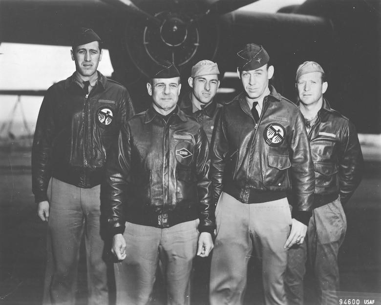 "Crew No. 1 (Plane #40-2344, target Tokyo): 34th Bombardment Squadron, Lt. Col. James H. Doolittle, pilot; Lt. Richard E. Cole, copilot; Lt. Henry A. Potter, navigator; SSgt. Fred A. Braemer, bombardier; SSgt. Paul J. Leonard, flight engineer/gunner. Cole is the last surviving member of the ""Doolittle Raid"" crews, having celebrated his 101st birthday. (U.S. Air Force photo)"