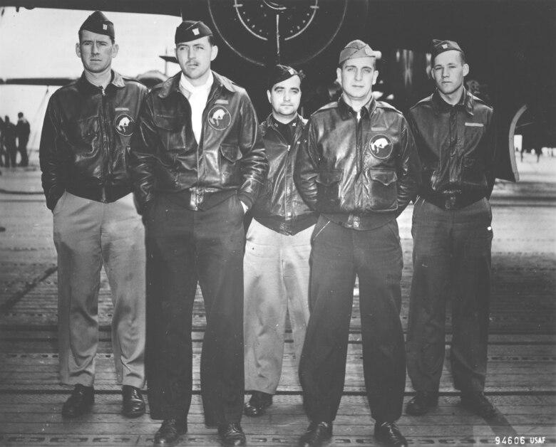 Crew No. 7 (Plane #40-2261, target Tokyo): 95th Bombardment Squadron, Lt. Ted W. Lawson, pilot; Lt. Dean Davenport, copilot; Lt. Charles L. McClure, navigator; Lt. Robert S. Clever, bombardier; Sgt. David J. Thatcher, flight engineer/gunner. (U.S. Air Force photo)