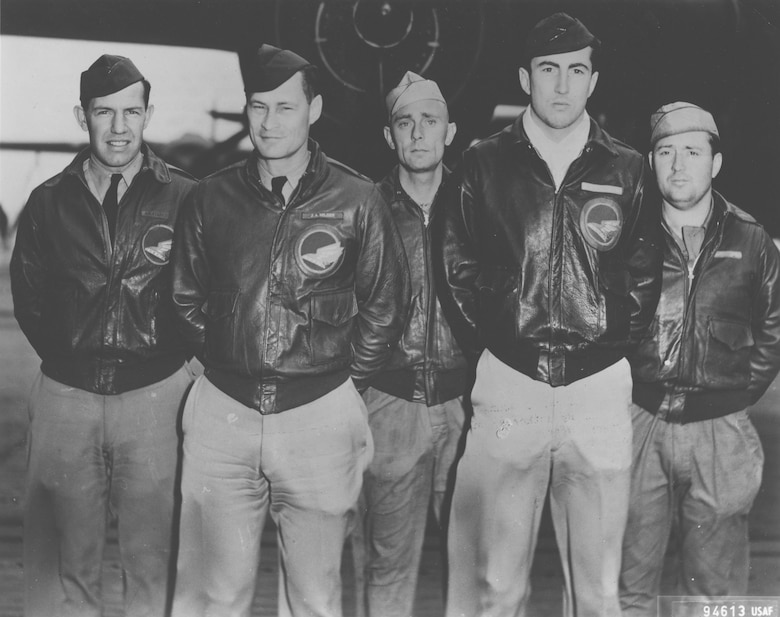 Crew No. 14 (Plane #40-2297, target Nagoya): 89th Reconnaissance Squadron, Maj. John A. Hilger, pilot; Lt. Jack A. Sims, copilot; Lt. James H. Macia Jr., navigator/bombardier; SSgt. Job Eierman, flight engineer; SSgt. Edwin V. Bain, gunner. (U.S. Air Force photo)