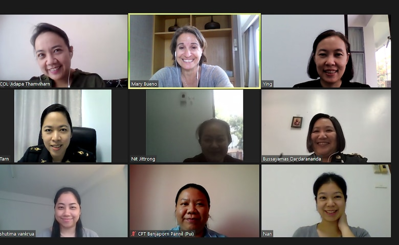 Screen shot of instructors from DLIELC MTT on Zoom teaching English to Thai students.