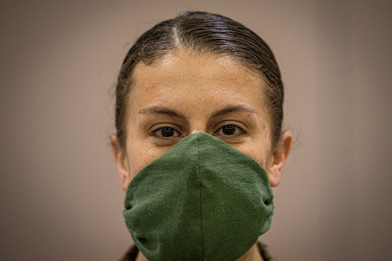 A New Jersey Air National Guard Airman stands for a portrait during the buildup of a Field Medical Station at the Atlantic City Convention Center in Atlantic City, N.J., April 9, 2020.  Atlantic City is one of three stations that will offer overflow from local hospitals focused on COVID-19 patients. (U.S. Air National Guard photo by Master Sgt. Matt Hecht)