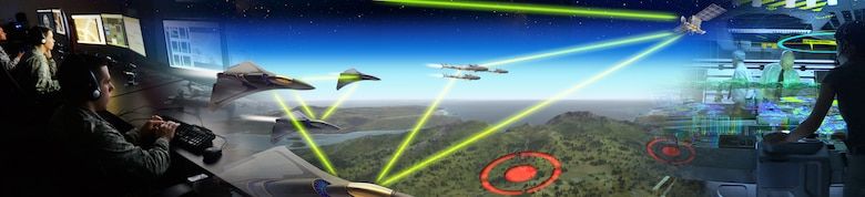 An illustration depicting the future integration of the Air Force enabling fusion warfare, where huge sets of intelligence, surveillance and reconnaissance data are collected, analyzed by artificial intelligence and utilized by Airmen and the joint force in a seamless process to stay many steps ahead of an adversary. (Illustration/AFRL)