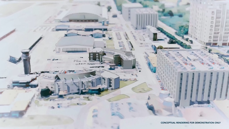 Conceptual rendering of what the flightline at Tyndall Air Force Base may look like in the future.