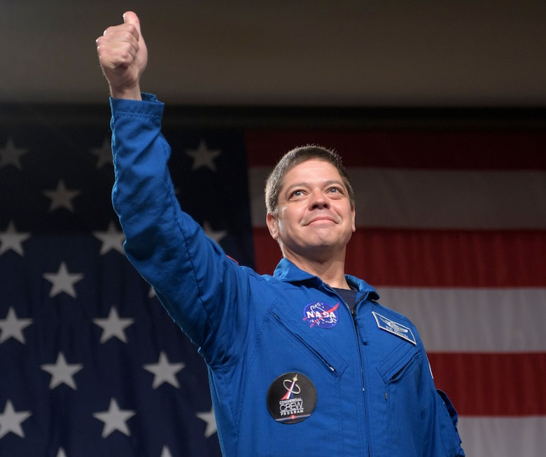 NASA astronaut Bob Behnken is seen during a NASA event where it was announced that he, and NASA astronaut Doug Hurley are assigned to SpaceX's Crew Dragon Demo-2 flight to the International Space Station, Friday, Aug. 3, 2018 at NASA's Johnson Space Center in Houston, Texas. Astronauts assigned to crew the first flight tests and missions of the Boeing CST-100 Starliner and SpaceX Crew Dragon were announced during the event. Photo Credit: (NASA/Bill Ingalls)