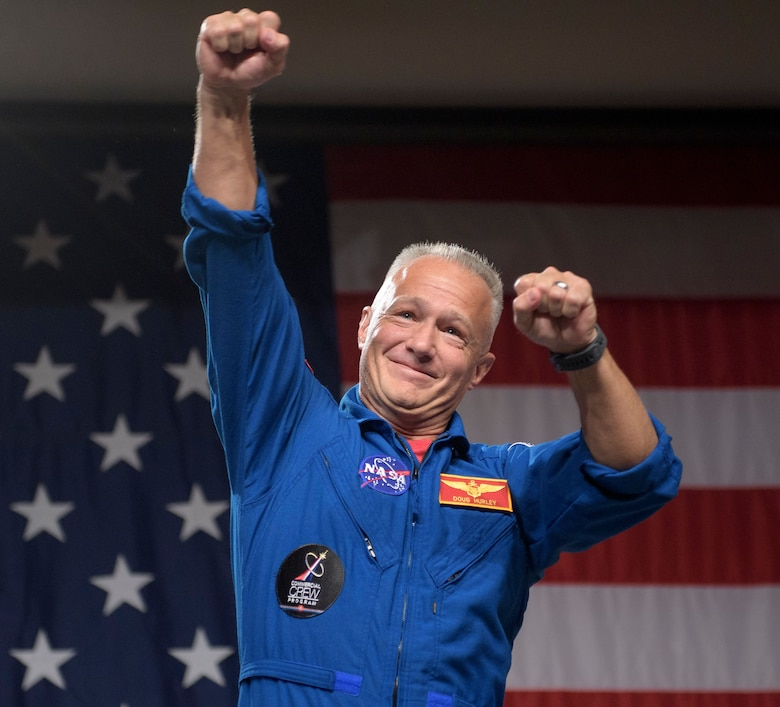 NASA astronaut Doug Hurley is seen during a NASA event where it was announced that he, and NASA astronaut Bob Behnken are assigned to SpaceX's Crew Dragon Demo-2 flight to the International Space Station, Friday, Aug. 3, 2018 at NASA's Johnson Space Center in Houston, Texas. Astronauts assigned to crew the first flight tests and missions of the Boeing CST-100 Starliner and SpaceX Crew Dragon were announced during the event. Photo Credit: (NASA/Bill Ingalls)