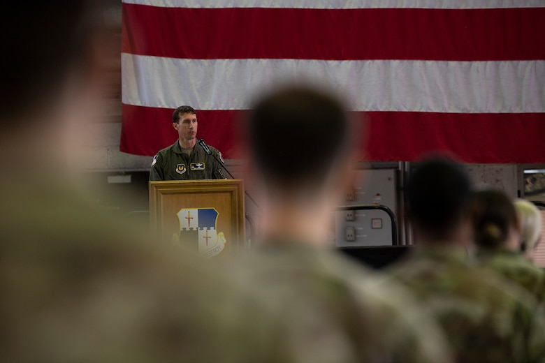 U.S. Air Force Col. David Epperson gives a speech during the 52nd Operations Support Squadron change of command ceremony.