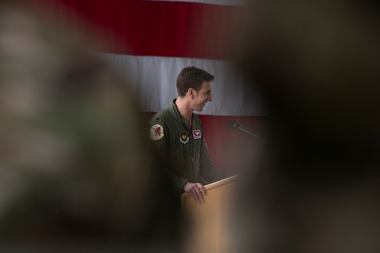 U.S. Air Force Lt. Col. John Powers, the new 52nd Operations Support Squadron commander, gives a speech during the 52nd OSS change of command ceremony May 25, 2021, on Spangdahlem Air Base, Germany.