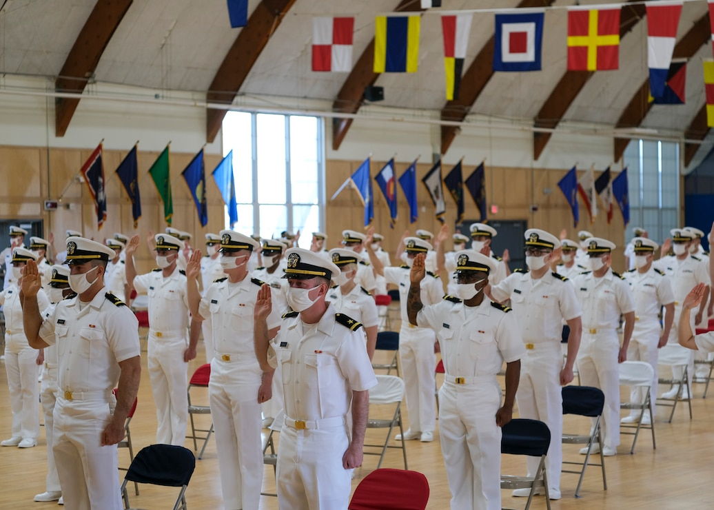 Rear Adm. Shoshana S. Chatfield, president of the U.S. Naval War College (NWC), is the guest speaker at the Officer Candidate School (OCS) graduation for class 10-21, May 14.