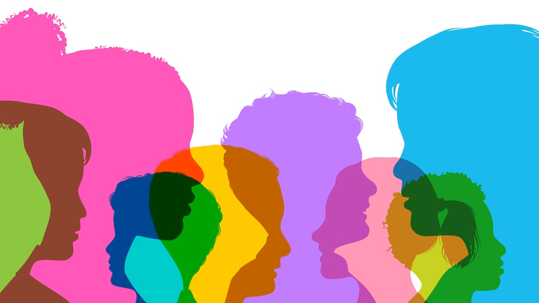 Colorful silhouettes of children's heads.