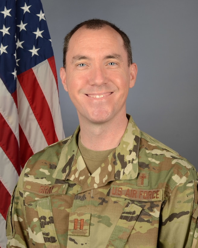 Portrait of U.S. Air Force Capt. Samuel Gray, chaplain assigned to the 169th Fighter Wing at McEntire Joint National Guard Base, South Carolina, October 2, 2020. (U.S. Air National Guard photo by Senior Master Sgt. Edward Snyder, 169th Fighter Wing Public Affairs)