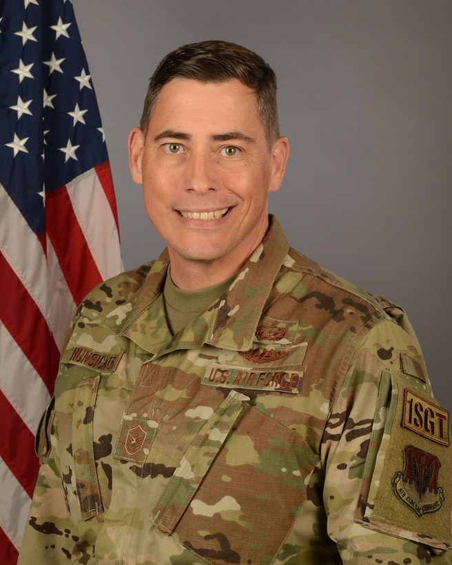 U.S. Air Force Master Sgt. Andrew Hunsicker, 169th Mission Support Group first sergeant at McEntire Joint National Guard Base, South Carolina, May 2, 2021. (U.S. Air National Guard photo by Senior Master Sgt. Edward Snyder, 169th Fighter Wing Public Affairs)