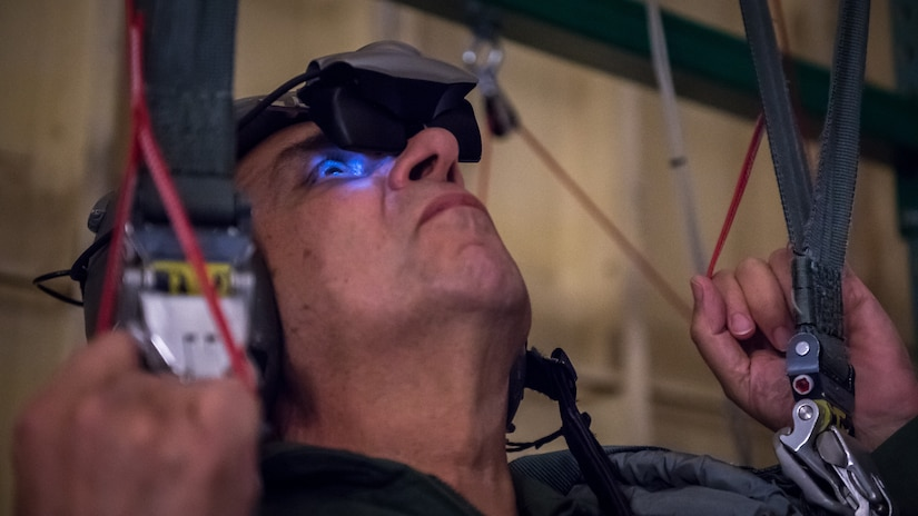 Dr. Richard J. Joseph, Chief Scientist of the U.S. Air Force, looks through virtual reality goggles at Barksdale Air Force Base, La., Nov. 29, 2018. The harness training was a requirement before flying on a B-52 Stratofortress with the 20th Bomb Squadron. (U.S. Air Force photo by Senior Airman Philip Bryant)