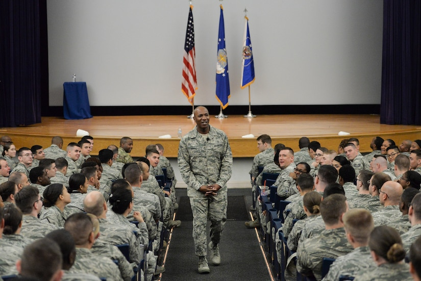 Chief Master Sergeant of the Air Force Kaleth O. Wright answers a question during an all-call with the Airmen from the 70th Intelligence, Surveillance and Reconnaissance Wing, Aug. 16, 2017 at Fort George G. Meade, Md. During the CMSAF's visit he conversed with the Airmen about topics concerning airmanship, professionalism and future enlisted Air Force initiatives. (U.S. Air Force photo by Staff Sgt. Alexandre Montes)