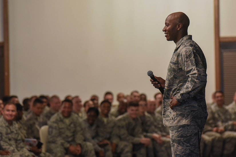 Chief Master Sgt. of the Air Force Kaleth O. Wright speaks to U.S. Air Force Airmen during an enlisted all-call at Ramstein Air Base, Germany, July 26, 2018. Wright visited numerous units to speak with Airmen about enlisted issues. (U.S. Air Force photo by Airman 1st Class D. Blake Browning)