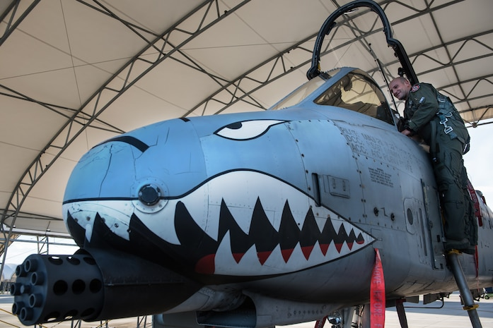 """Capt. """"Pinna"""", an Italian air force exchange pilot with the 74th Fighter Squadron, climbs into a U.S. Air Force A-10 Thunderbolt II, Moody AFB, Jan. 16, 2018. The Military Personnel Exchange program provides officers with the opportunity to participate in personnel exchanges with over 30 countries. (U.S. Air Force photo by Tech. Sgt. Greg C. Biondo)"""