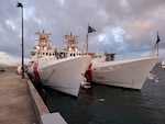 SAN JUAN, Puerto Rico (March 31, 202) Sister ships USCGC Charles Moulthrope (WPC 1141) and USCGC Robert Goldman (WPC 1142) moor side-by-side March 31, 2021, at Sector San Juan as they continue their journey to their new homeport. Charles Moulthrope and Robert Goldman are en route to their new homeport in Bahrain in support of the Navy's U.S. Fifth Fleet and U.S. Coast Guard Patrol Forces Southwest Asia. While in the U.S. Navy's Sixth Fleet area of responsibility, the crews will support engagements with partner countries strengthening relationships and demonstrating our continued commitment to global maritime security and stability. (U.S. Coast Guard photo by Petty Officer 1st Class Sydney Niemi/Released)