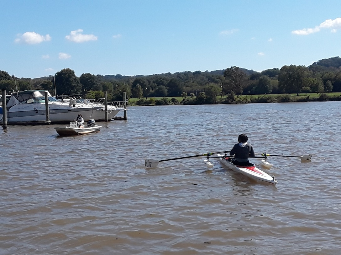 Person rowing on Anacostia River.