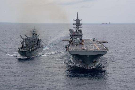 Japanese oiler resupplies USS America at sea