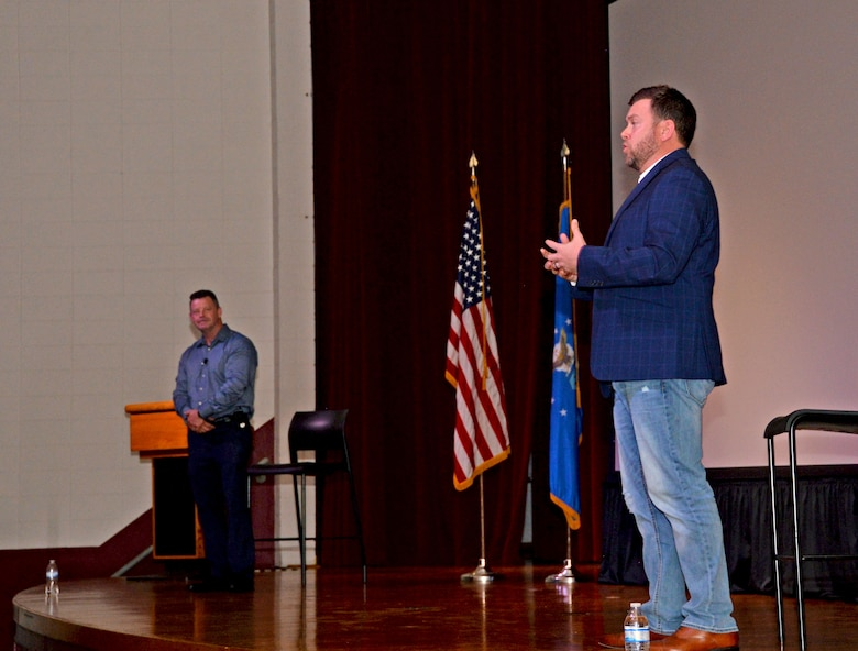 Ernie Stevens and Joe Smarro, San Antonio Police Department Mental Health Unit officers, answer questions from Airmen and families during the 960th Cyberspace Wing Mental Health and Resiliency Fair, May 1, 2021, at Joint Base San Antonio-Lackland, Texas. (U.S. Air Force photo by Tech. Sgt. Samantha Mathison)
