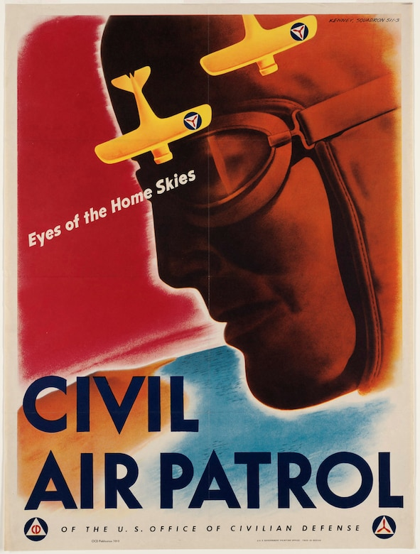 This iconic 1943 CAP recruitment poster was designed by V. Clayton Kenney of Cleveland, himself a member of Squadron 511-3 in Chagrin Falls, Ohio. Photo // U.S. Office of War Information, National Archives