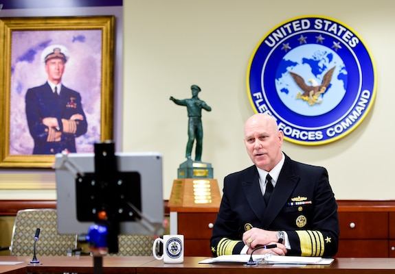 Adm. Christopher W. Grady, commander, U.S. Fleet Forces Command, (USFFC) speaks about the importance of mine warfare as the keynote speaker on the second day of the 14th International Mine Technology Symposium (virtual), May 26, 2021.