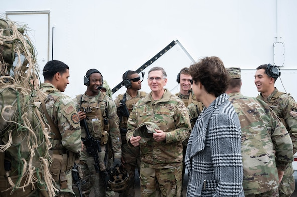 Gen. Tim Ray, Air Force Global Strike Command commander, center, speaks to Airmen with the 341st Missile Security Operations Squadron tactical response force May 25, 2021, during a visit to Malmstrom Air Force Base, Mont.