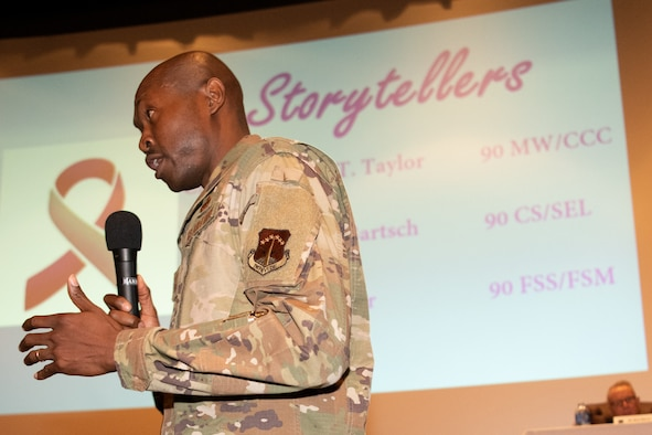 Command Chief Master Sgt. Nicholas Taylor, 90th Missile Wing command chief, speaks at a story telling event May 24, 2021, at F.E. Warren Air Force Base, Wyoming. The story telling event was held to raise awareness about suicide prevention and encourage resiliency. (U.S. Air Force photo by Airman 1st Class Charles Munoz)