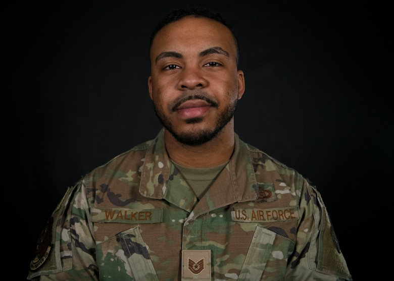 Tech. Sgt. Michael Walker, 309th Fighter Squadron aviation resource manager, helped save the lives of 28 people during an active shooter incident May 20, 2020, in the Westgate Entertainment District, Glendale, Arizona. For his actions, Walker was awarded the 2021 Air Force Sergeants Association William H. Pitsenbarger Heroism Award. AFSA presents the award annually to an enlisted Air Force member who has performed a heroic act, on or off duty. (U.S. Air Force photo by Senior Airman Caitlin Diaz-Gorsi)