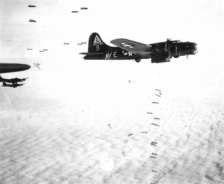 A B-17 Flying Fortress of the Army Air Forces during a bombing mission over western Europe. (Courtesy photo)