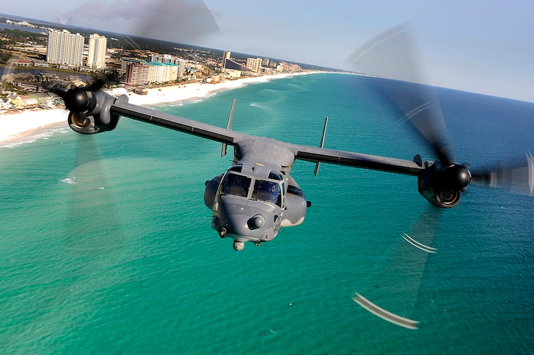 A CV-22 Osprey aircraft from the 8th Special Operations Squadron at Hurlburt Field, Fla., flies Jan. 31, 2009, over Florida's Emerald Coast. While over the water, the crew practiced using a hoist, which is used to rescue stranded people. (U.S. Air Force photo/Senior Airman Julianne Showalter)