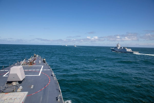 The Arleigh Burke-class guided-missile destroyer USS Roosevelt (DDG 80) and At-Sea Demo/Formidable Shield participating nation's ships steam in formation, May 25, 2021. At-Sea Demo/Formidable Shield, conducted by Naval Striking and Support Forces NATO on behalf of U.S. Sixth Fleet, is a live-fire integrated air and missile defense (IAMD) exercise that improves Allied interoperability using NATO command and control reporting structures.
