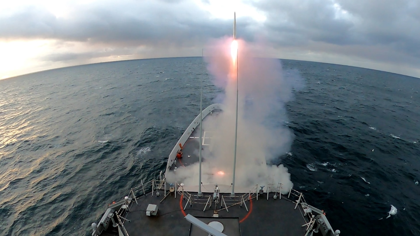 210521-N-NO901-0001 UK MOD HEBRIDES RANGE (May 21, 2021) The Spanish Navy Alvaro de Bazan (F100) class guided-missile frigate Cristóbal Colon (F-105) launches a supersonic missile with one Evolved Sea-Sparrow-Missile (ESSM), making skin-to-skin contact, during exercise At-Sea Demo/Formidable Shield, May 21, 2021. (U.S. Navy photo by Lt. Daniel Schuerman)