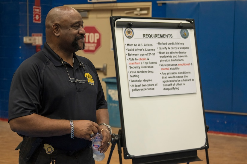 Special Agent Ricky Jenkins, Army Criminal Investigation Division, prepares for a briefing on the requirements of becoming a special agent, during a Career Fair held May 20, 2021, at Camp Arifjan, Kuwait. The event allowed subject matter experts to inform Soldiers about career opportunities while in Kuwait. (U.S. Army photo by Joseph Black)