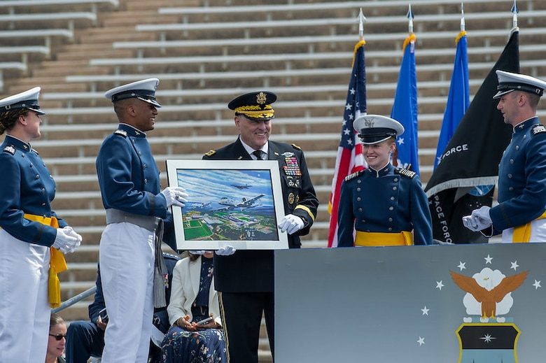 Cadets present the class gift during the U.S. Air Force Academy Class of 2021 Graduation Ceremony at the Air Force Academy in Colorado Springs, Colo., May 26, 2021.