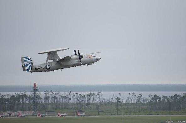 A U.S. Navy E-2D Advanced Hawkeye takes off