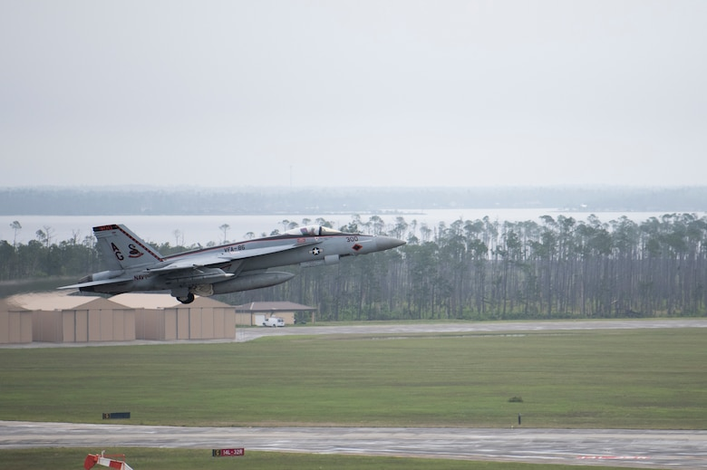 A U.S. Navy F/A-18E Super Hornet takes off