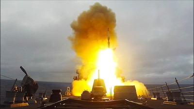 USS Paul Ignatius (DDG 117) launches an SM-3 missile during exercise At-Sea Demo/Formidable Shield.
