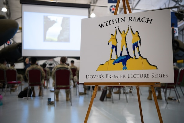 Within Reach lecture series participants gather to hear from Jes DeShields, Ph.D., Crescent Leadership founder and principal consultant, at the Air Mobility Command Museum on Dover Air Force Base, Delaware, May 25, 2021. Seven top-level industry leaders and speakers were invited to speak to Dover AFB Airmen about success and how to achieve realistic goals. (U.S. Air Force photo by Senior Airman Marco A. Gomez)