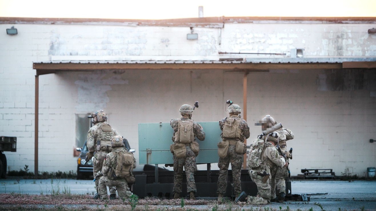 U.S. Marines with 3rd Battalion, 2d Marine Regiment (3/2), 2d Marine Division, and Marine Corps Forces Special Operations Command (MARSOC) provide security during a night raid as a part of Exercise Raven in Nashville, Tenn., May 24, 2021. Exercise Raven is an integrated training event with Marines from 3/2 and MARSOC which simulates real-life tactical scenarios to enhance overall unit interoperability, effectiveness and lethality against an adversarial force. (U.S. Marine Corps photo by Cpl. Patrick King)